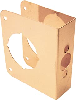 Prime-Line Products U 9555 Prime Line Non-Recessed Lock Edge Reinforce, for Use with 1-3/8 in Door Thickness, Brass
