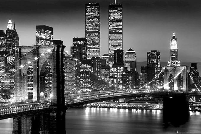 Brooklyn Bridge 36x24 Black And White Photo Suspension Bridge East River 24x36 Poster New York Decor Black And White Posters Prints