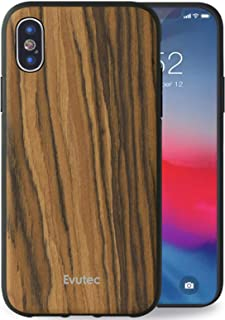 Evutec Case Compatible with iPhone X/Xs, AER Series Wood Case Thin Slim Protective Phone Case for iPhone X/Xs - Burmese Rosewood (AFIX+ Vent Mount Included)