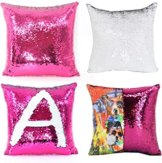 H-E 10pcs Sublimation Blank Mermaid Pillow Case Throw Pillow Covers Sequin Magic Pillow Case Decorative Square Pillowcase Cover 40x40 cm (Rose Red)
