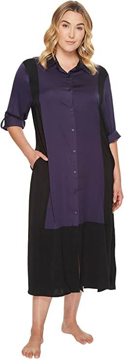 DKNY - Plus Size Long Sleeve Maxi Sleepshirt