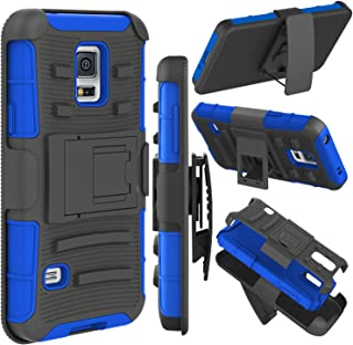 Galaxy S5 Case, Zenic(TM) Hybrid Dual Layer Armor Defender Full-Body Protective Case Cover with Kickstand & Belt Clip Holster Combo for Samsung Galaxy S5 i9600 Case (Dark Blue)