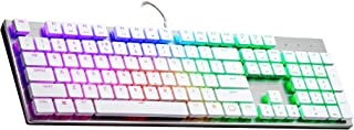 Cooler Master SK650 White Limited Edition Mechanical Keyboard with Cherry MX Low Profile RGB Switches In Brushed Aluminum Design