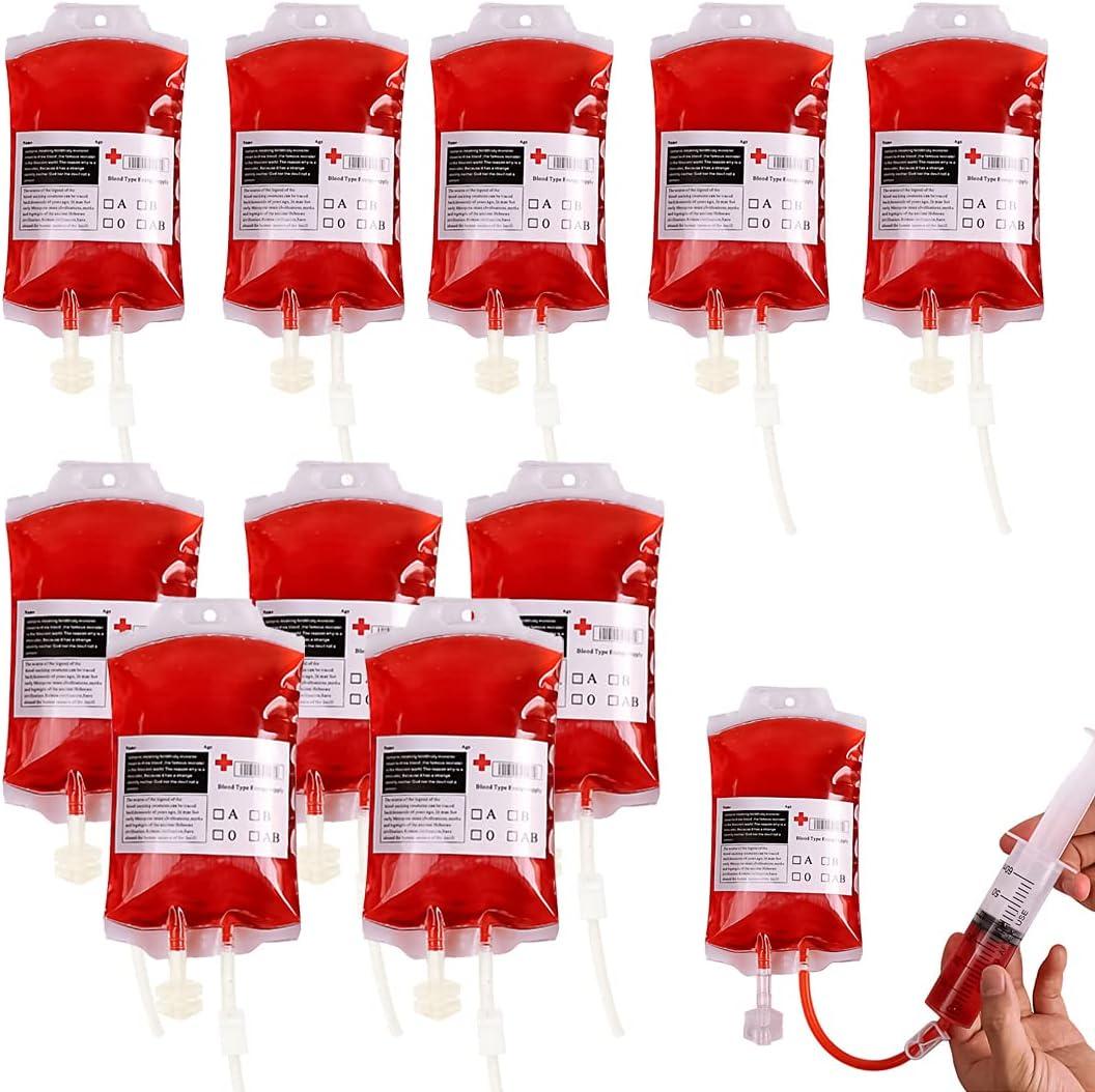 YXHZVON 10 Piezas Bolsa de Sangre de Halloween Fiesta Bolsa de donación de Sangre Especial Bolsa de infusión Reutilizable para Accesorios de Halloween Cosplay