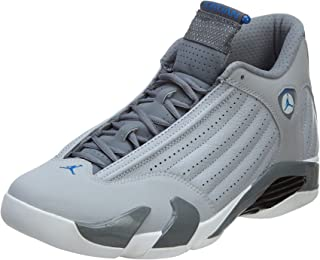 NIKE Air Jordan 14 Retro Men Sneakers Wolf Grey/Cool Grey/White/Sport Blue 487471-004 (SIZE: 13)