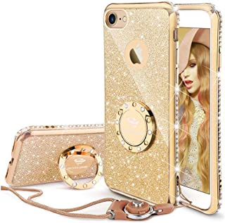 Cute iPhone 8 Case, Cute iPhone 7 Case, Glitter Bling Diamond Rhinestone Bumper with Ring Grip Kickstand Protective Thin Girly Gold iPhone 8 Case/iPhone 7 Case for Women Girl - Gold