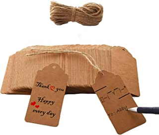 Brothersbox 120 PCS Kraft Paper Tags Craft Hang Tags with Free 100 Ft Natural Jute Twine, Writable Display Labels for Gifts, Wedding Valentine's Day Tags ,1.96 x 3.93 inches