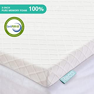 RECCI 3-Inch Memory Foam Mattress Topper Twin, Pressure-Relieving Bed Topper, Memory Foam Mattress Pad with Bamboo Viscose Cover - Removable&Washable,CertiPUR-US(Twin Size)