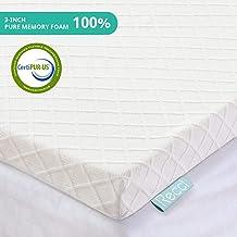 RECCI 3-Inch Memory Foam Mattress Topper Twin, Pressure-Relieving Bed Topper, Memory Foam Mattress Pad with Bamboo Viscose...