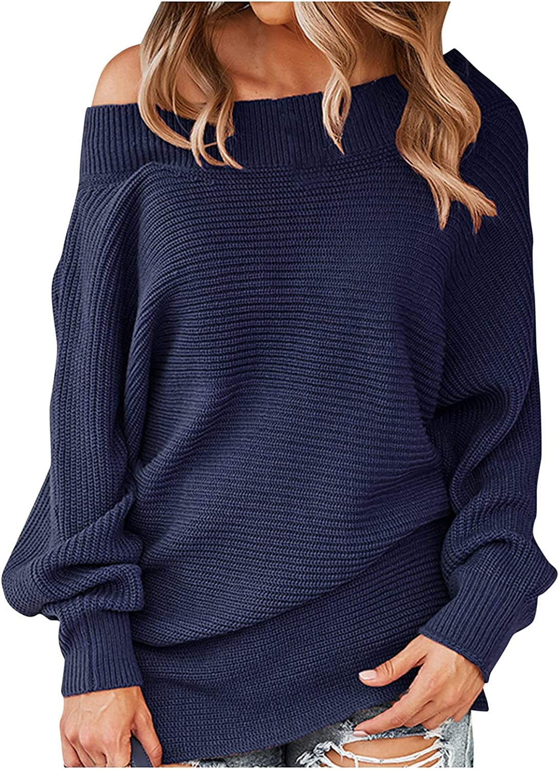 RUIY Fall Off Shoulder Knit Sweaters for Women, Long Sleeve Pullover Knit Jumper Baggy Solid Cardigan Tops Loose Sweater