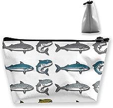 pengyong Mackerel Vector Cartoon Illustration Makeup Bag Large Trapezoidal Storage Travel Bag Wash Cosmetic Pouch Pencil Holder Zipper Waterproof