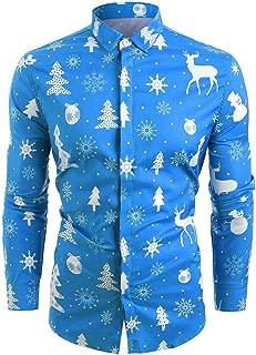 Men Christmas Dress Shirt 3D Snowflakes Santa Candy Printed Turn-Down Collar Casual Tops