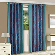 Story at Home Nature Collection Designer 2 Piece Combo Premium Door Curtain - 7 Feet, Aqua, DNR3022