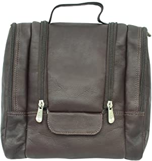 Piel Leather Hanging Travel Toiletry Kit, Chocolate, One Size