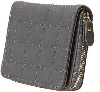 Lorna Women Mini Short Wallets PU Leather Female Plaid Purses Nubuck Card Holder Wallet Zipper Wallet With Coin Purse