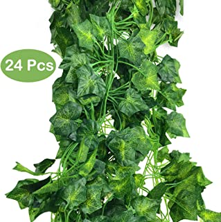 DLOnline 160 Feet Artificial Greenery Fake Ivy Leaves Garland Hanging for Wedding Party Garden Wall Decoration (24pcs)