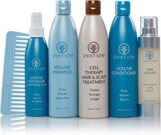 Ovation Hair Holiday Gift Set - Volume System with Cell Therapy - Get Stronger, Fuller & Healthier Looking Hair with Natural Ingredients - Includes Shampoo, Conditioner, Repair Mask, Detangler, Comb