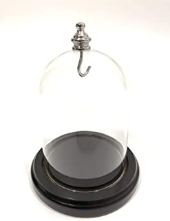 Glass Dome 3 x 4 Silver Knob, New Clear Glass Display Dome Premium Quality, Black Base with Groove FreePriority Ship, PocketWatch Dome, Display, 3