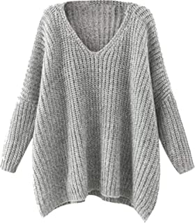 Milumia Dropped Long Sleeves Batwing Cable Knit Winter V Neck Loose Fit Sweaters