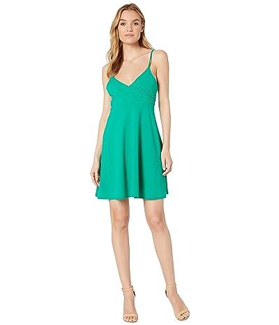 Susana Monaco Wrap Top Thin Strap Dress (Emerald) Women