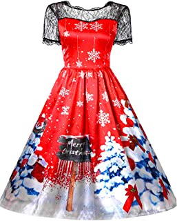 Christmas Dress for Women 50s Vintage Sleeveless Retro Cocktail A- Line Xmas Snowflake Printed Swing Party Dress Costume