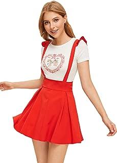 MAKEMECHIC - Falda con Tirantes para Mujer, Estilo Informal, Cintura Alta, con Falda, Rojo, XL