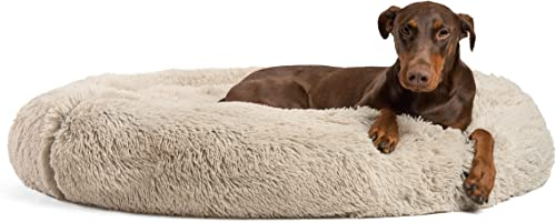 Best Friends by Sheri The Original Calming Donut Cat and Dog Bed in Shag or Lux Fur, Machine Washable, High Bolster, ...