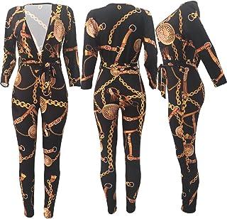 a31fda9b77 Swallowuk Donna Scollo A V Profonda tuta estivo tuta a maniche lunghe con  Slim Pantaloni Lunghi fiori