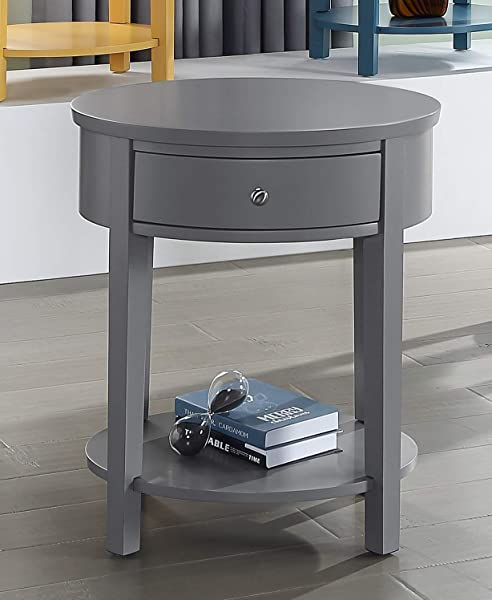 GTU Furniture Oval Wood Accent Shelf 1 Drawer Storage Nightstand Side Table End Table Grey