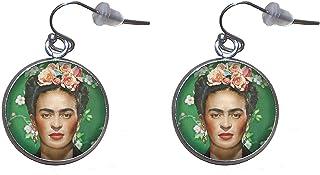 Orecchini pendenti in acciaio inossidabile, diametro 20 mm, fatto a mano, illustrazione Frida Feminist 2