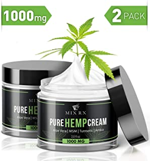 (2 Pack | 4oz) Hemp Cream for Pain Relief Helps Carpal Tunnel, Arthritis Back Knee Joint Muscle Lotion (1000mg) - Anti Inflammatory Hemp Oil Cream w Turmeric, MSM, Arnica, Vitamin A C D E - Hemp Salve