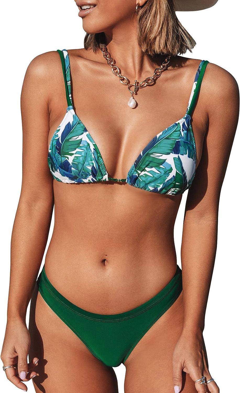 CUPSHE Women's Bikini Swimsuit Leafy Print Low Waist Two Piece Bathing Suit
