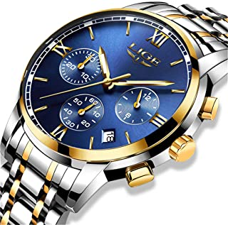 Mens Watch Fashion Business Analog Quartz Watches with Stainless Steel Band Classic Casual Dress Chronograph Calendar Wrist Watch for Men