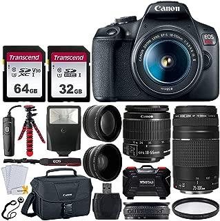 Canon EOS Rebel T7 DSLR Camera + EF-S 18-55mm f/3.5-5.6 IS II + EF 75-300mm f/4-5.6 III Lens + Canon EOS Shoulder Bag + 32GB & 64GB Memory Card + Wide Angle & Telephoto Lens + Flexible Tripod + Remote