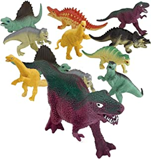 Kicko Vinyl Colored Dinosaur Toys - 12 Pack 5-7 Inches Assorted Real Figures - for Kids, Boys, Girls, to Any Collection of...