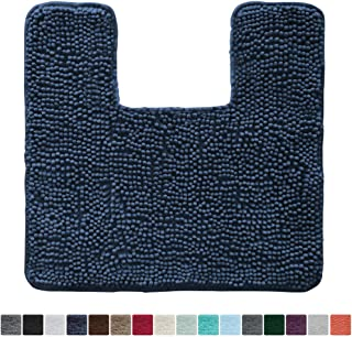 Gorilla Grip Original Shaggy Chenille Square U-Shape Contoured Mat for Base of Toilet, 22.5x19.5 Size, Machine Wash and Dry, Soft Plush Absorbent Contour Carpet Mats for Bathroom Toilets, Navy Blue