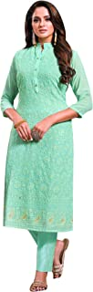ladyline Lucknowi Chiffon Embroidered Kurti for Women Lakhnavi Kurta Women Tunic Indian Dress
