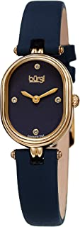 Burgi BUR229 Designer Women's Watch – Satin Over Genuine Leather Strap, 4 Genuine Diamond Markers, Glossy Dial, Polished Oval Bezel