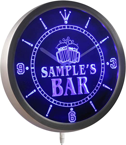 ADVPRO Ncw Tm Name Personalized Custom Home Bar Beer Mugs Cheers Neon Sign LED Wall Clock