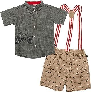 DDG Baby Boy's 2-Piece Suspender Short Set with Matching Top (Newborn & Infant)