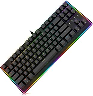 DURGOD RGB Mechanical Gaming Keyboard - USB Wired Compact 87 Key - Linear and Quiet - Cherry MX Red Switches - Media Contr...
