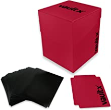 Vault X Deck Box and 150 Black Card Sleeves - Large Size for 120-130 Sleeved Cards - PVC Free Card Holder for TCG (Red)