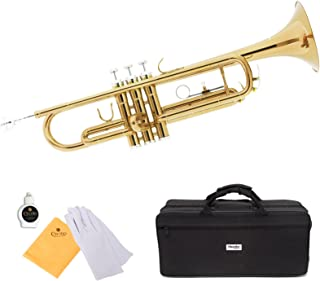 Mendini by Cecilio Brass Bb Trumpet with Durable Deluxe Case and 1 Year Warranty (Gold Lacquer)