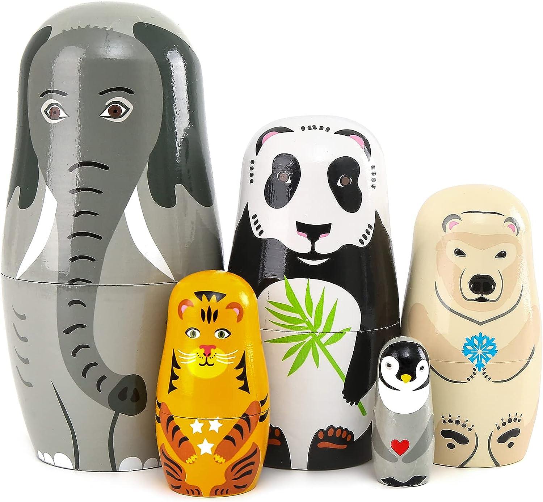 Moonmo 5pcs Beautiful Handmade Wooden Eleph Nesting Dolls NEW Recommendation Animal