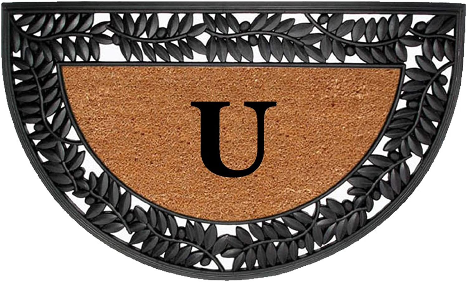 Creative Accents Monogrammed U Wrought Iron Rubber Coir Mat with Half Round Olive Border, 22  x 36