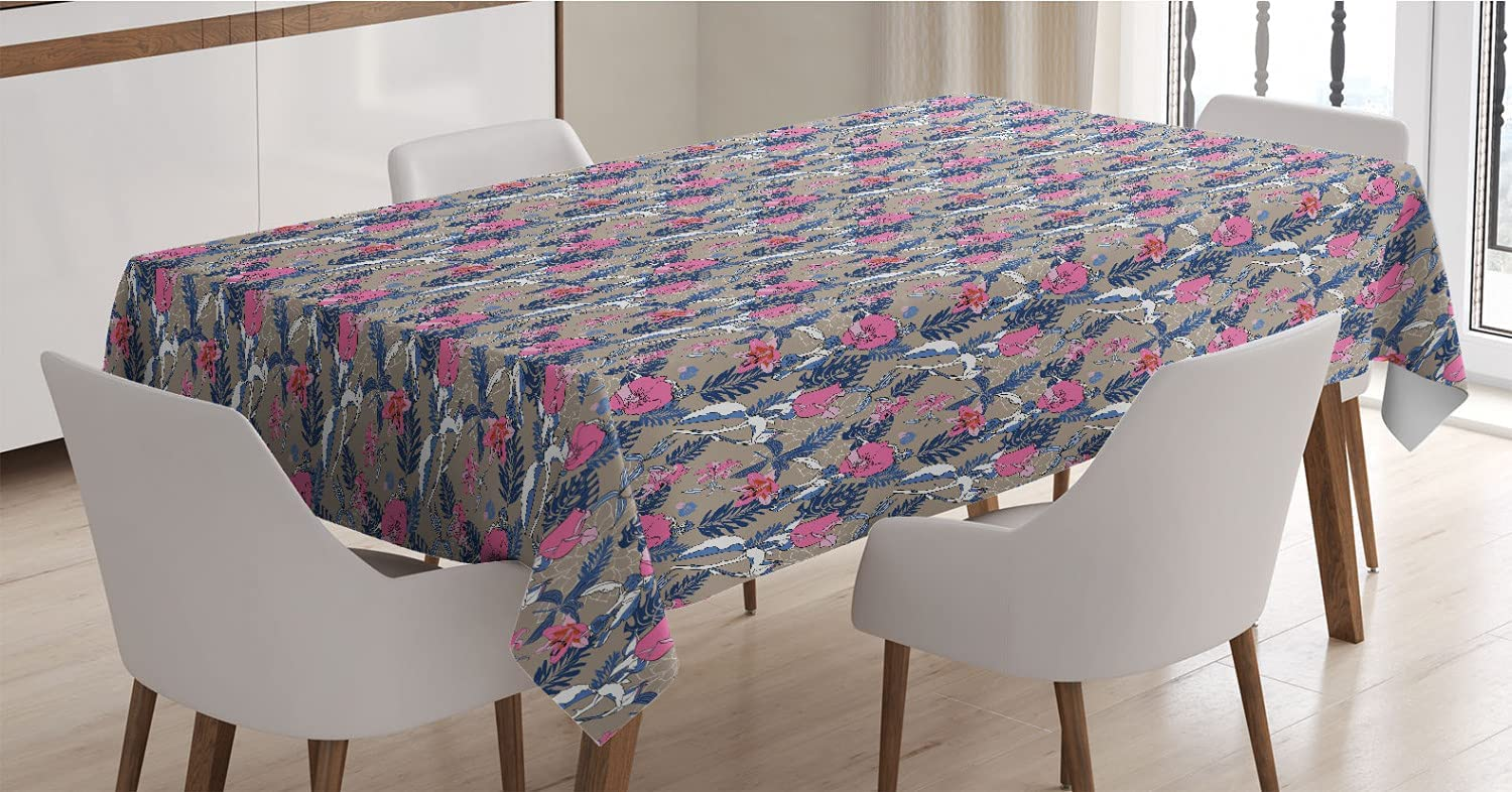 Charlotte Mall Max 58% OFF Ambesonne Exotic Tablecloth Pastel Hibiscus Flourishing Blooms