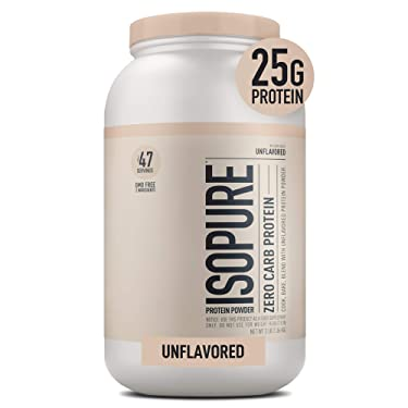 Isopure Zero Carb Unflavored 25g Protein, 100% Whey Protein Isolate, Keto Friendly Protein Powder, No Added Colors/Flavors/Sweeteners, GMO Free, 3 Pound (Packaging May Vary)