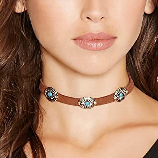 Bohemia Turquoise Choker Necklace Leather Choker Jewelry Suede Necklace for Women and Girls Boho Style