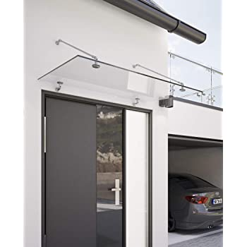 200 x 90 cm Glasvordach Grauglas Vordach T/ürvordach T/ürdach Haust/ür Anthrazit Glas Edelstahl VSG