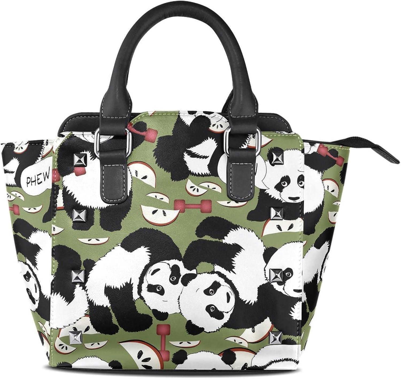 Sunlome Cute Panda Dumbbell Healthy Lifestyle Print Handbags Women's PU Leather Top-Handle Shoulder Bags